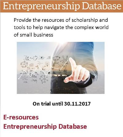 Entrepreneurship Database – On trial until 30/11/2017